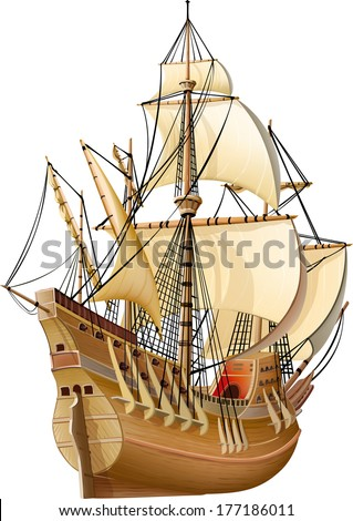 caravel sailing on the waves