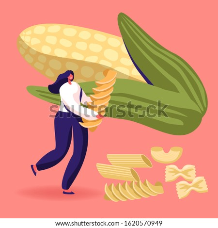 Carbohydrate Source Concept. Female Character Holding Pasta with Dry Macaroni of Various Kinds Scattered around and Huge Ears Corn. Italian Cuisine, Healthy Food Menu. Cartoon Flat Vector Illustration