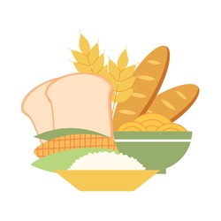 Carbohydrates food concept vector illustration on white background. Bread, rice, corn, noodles and wheat in flat design.