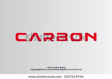 Carbon, a bold modern sporty typography alphabet font. vector illustration design Foto stock ©