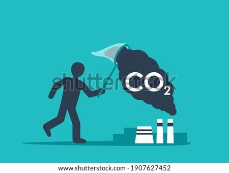 Carbon Capture Technology - net CO2 footprint development strategy. Vector illustration with metaphor - catching butterflies Foto stock ©