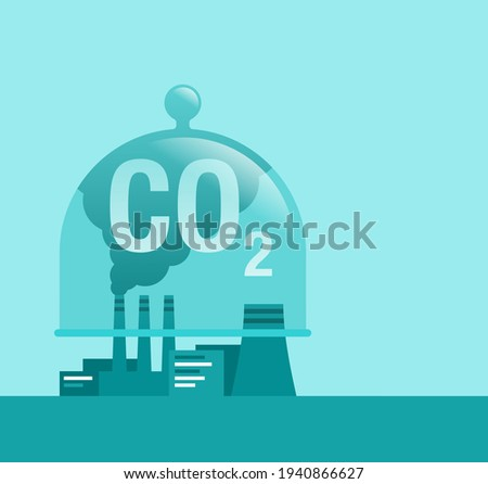 Carbon Capture Technology research - net CO2 footprint neutralize development strategy. Vector illustration with metaphor - domed glass dish catching harmful cloud Foto stock ©