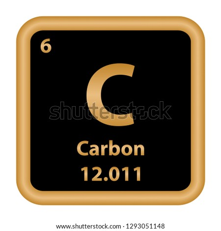 Carbon element from the periodic table series. Sign with atomic number and atomic weight. chemical element.