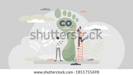 Carbon footprint as CO2 emission pollution amount in air tiny person concept. Dioxide greenhouse gases as climate change reason vector illustration. Foot symbol as industrial toxic effect warning.