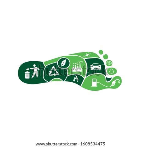 Carbon Footprint C02 vector logo sign  ストックフォト ©