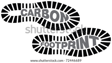 Carbon footprint, footprints with the words carbon footprint incorporated