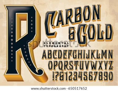 Carbon & Gold is a vintage style typeface with ornate elements and depth. This file includes all capitals, numerals, some punctuation, and design elements.