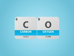 carbon monoxide co molecule. Simple molecular formula consisting of carbon, oxygen elements. Chemical compound simplified structure on blue background, for chemistry education