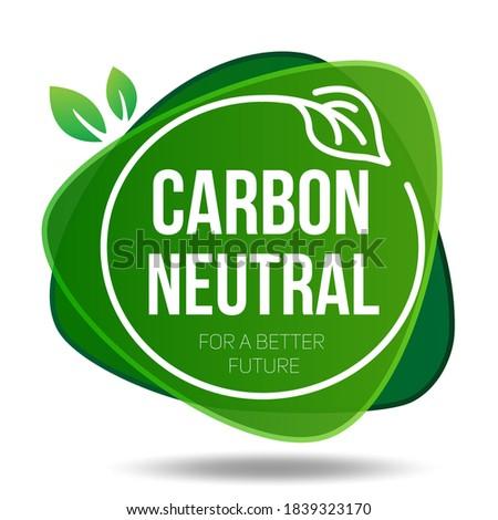 Carbon neutral icon. Green Emblem. Carbon Neutral Text Label