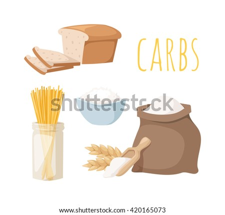carbs food isolated on white