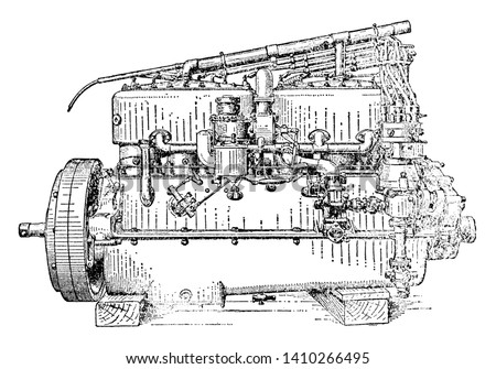 Carburetor Side View of Six Cylinder Rolls Royce Engine used to mix air and fuel in the engine, vintage line drawing or engraving illustration.