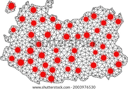 Carcass polygonal map of Ciudad Real Province under infection. Vector model is created from map of Ciudad Real Province with red virus elements. Lines and viruses form map of Ciudad Real Province. Foto stock ©