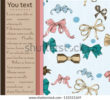 Card and seamless texture with bows. Vector illustration EPS10