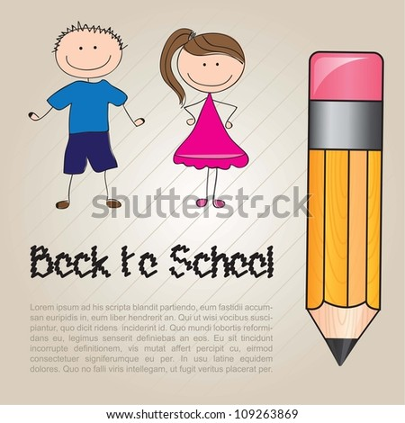 card back to school with two children