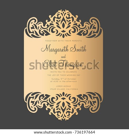 Card Border Design For Laser Cutting Machines Wedding Invitation Or