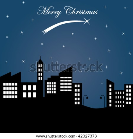 Card Christmas. city at night