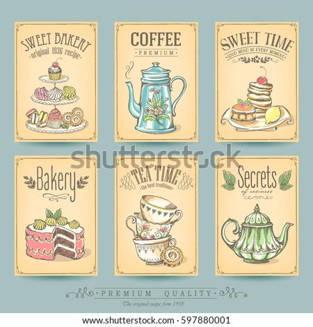 card collection pastries and