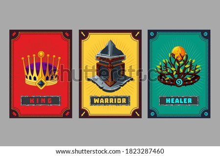 Card deck. Collection game art. Fantasy ui kit with magic items. User interface design elements with decorative frame. Equipment assets. Cartoon vector illustration. Crown, helmet and hoop.