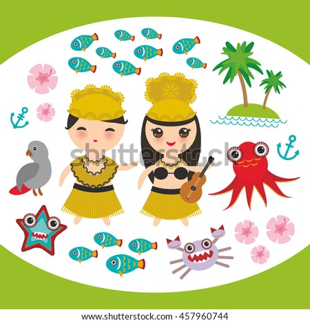 card design hawaiian hula