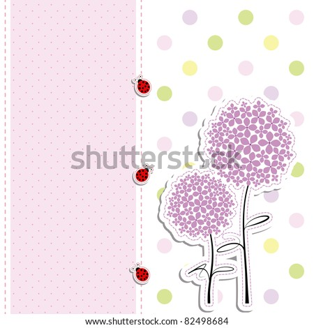 card design purple flowers,ladybirds on polka dot background
