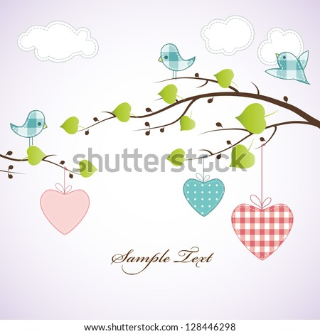 Card design with birds on the branch and hearts. - stock vector