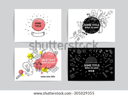 Card design with funny hand drawn doodle elements