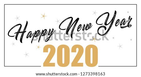 Card design with handwritten inscription 2020 plus golden stars and the inscription happy new year. EPS vector illustration