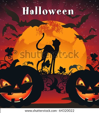 Card for Halloween Congratulations with pumpkin, bats and cat. Vector framework for invitations.