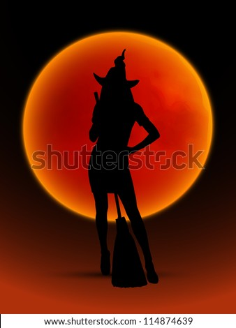 Card for Halloween with the silhouette of witch against the backdrop of the Blood Moon. Vector illustration.