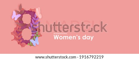 Card for 8 March womens day. Flowers inside number eight cut from paper. Abstract background with text and flowers .Vector illustration. Paper cut and craft style.