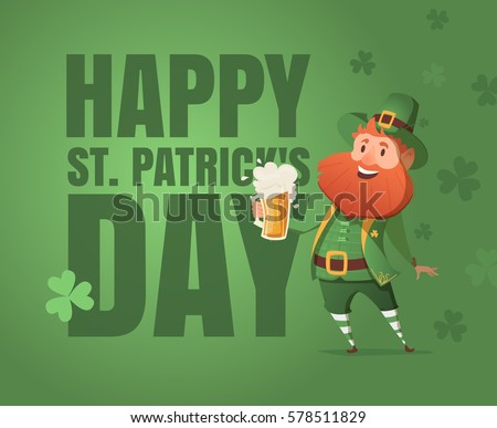 Card for St. Patrick's Day with leprechaun in a suit. Invitation to an Irish party at the Pub. Happy St. Patrick's Day.