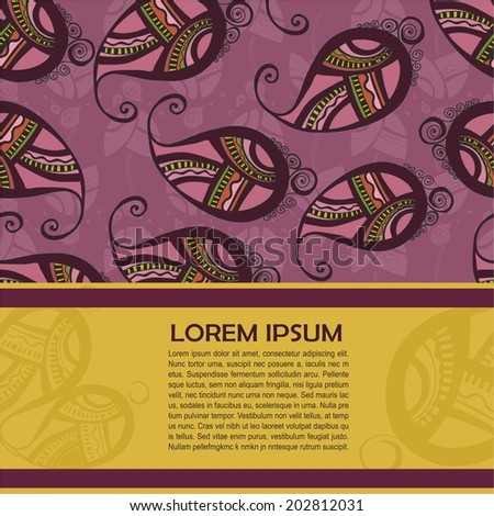 Card for text with Indian ornament. vector illustration #202812031