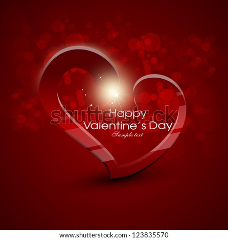card for valentine day with heart, love, bokeh