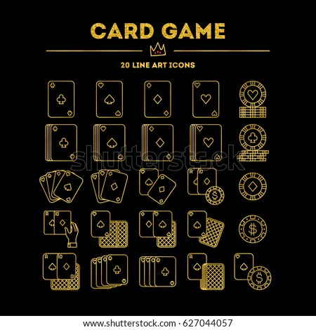 Card Game (golden gradient edition with glitter) vector icon (logo) set. 20 objects. All objects are Isolated.
