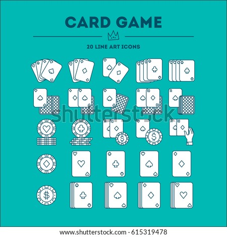 Card Game vector icon (logo) set. 20 objects. All objects are Isolated.