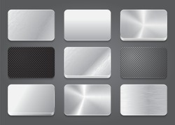 Card icons with metal background. Metal app. Metal icons set. Platinum button icons. Vector illustration