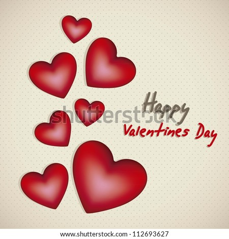 Card illustration valentines day with hearts different sizes, vector illustration