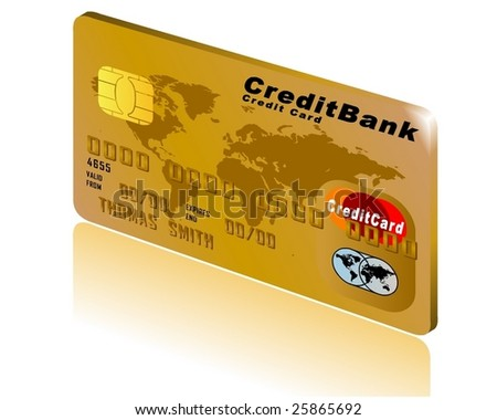 Card in Gold with shadow and background in 3D - stock vector