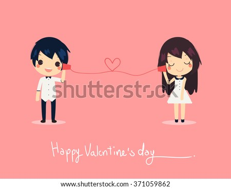 card of cute couple call on