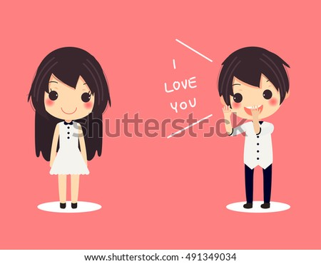 card of cute couple man shout