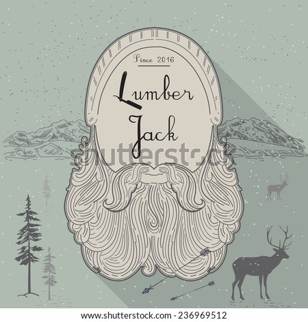 card of lumberjack emblem and