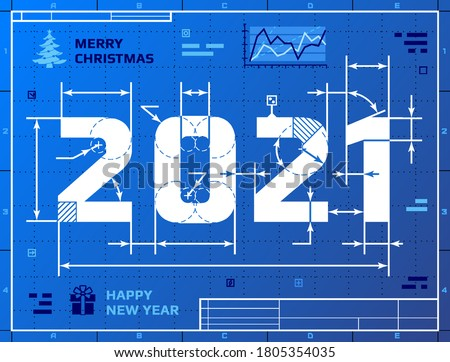 Card of New Year 2021 as blueprint drawing. Stylized drafting of 2021 on blueprint paper