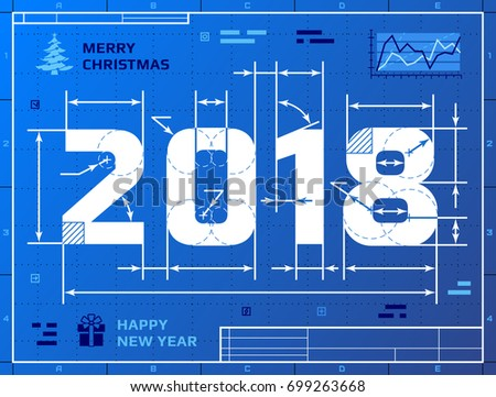 Card of New Year 2018 as blueprint drawing. Stylized drafting of 2018 on blueprint paper. Vector illustration for new years day, christmas, winter holiday, new years eve, engineering, silvester, etc