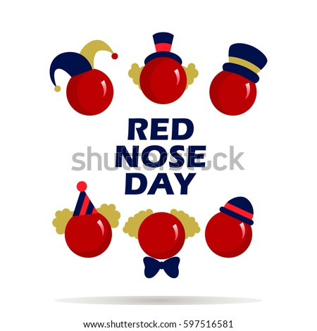 Card of red nose day . Vector illustration.