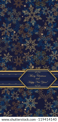 Card on seamless christmas background  with hand-drawn elegant snowflakes