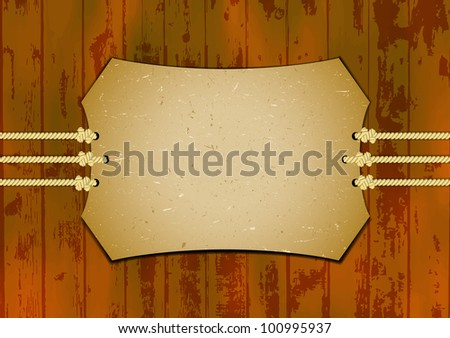 Card on the ropes with wooden background - stock vector