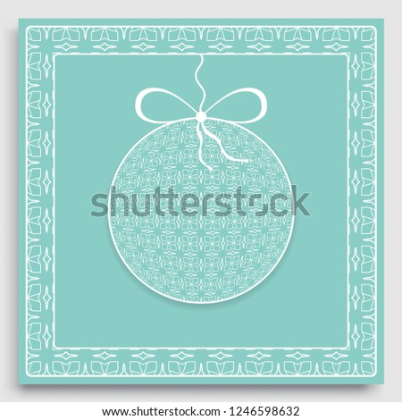 isolated design elements for page decoration card or invitation template with ornate christmas ball and frame border pattern new year decoration