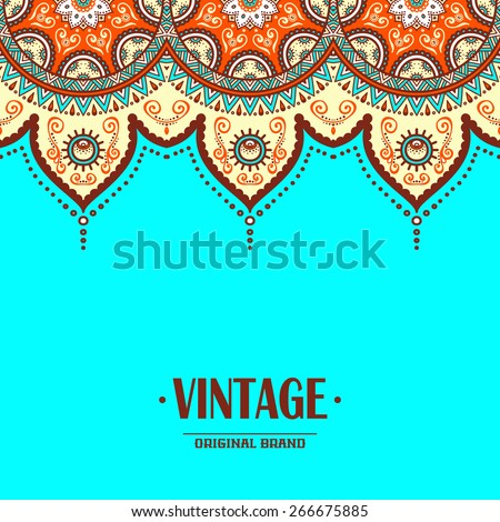 Card or invitation. Vintage decorative elements. Hand drawn background. Islam, Arabic, Indian, ottoman motifs.