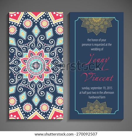 Card or invitation. Vintage decorative elements. Hand drawn background. Islam, Arabic, Indian, ottoman motifs.