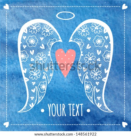 card or invitation with angel